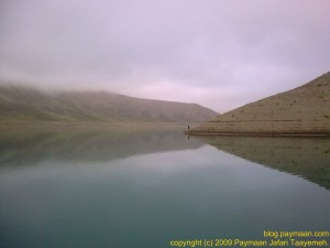 looking east, laar lake, still foggy, cool, best conditions for brown trout fishing.