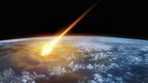 fictional image of asteroid impact on Earth